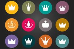 12款圆形皇冠图标矢量素材