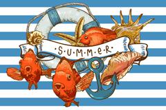 复古夏季海洋插画矢量素材