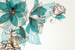 绿色花卉插画矢量素材