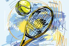 手绘网球拍插画矢量素材