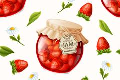 精美草莓果酱背景矢量素材
