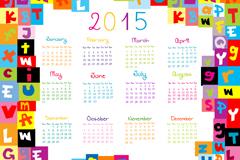 2015年彩色英文字母年历矢量素材