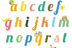 26个童趣英文字母设计矢量素材
