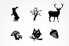 9款森林动植物图标矢量素材
