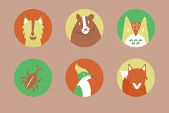 9个圆形卡通森林动物头像矢量素材