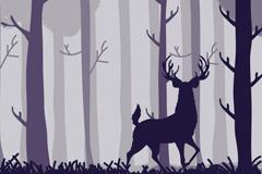 森林中的梅花鹿剪影插画矢量素材