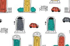 开通彩绘门和汽车背景矢量素材