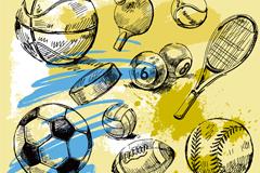 手绘球具设计矢量素材