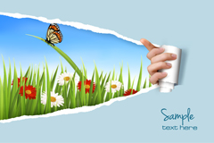 手撕纸自然背景矢量素材