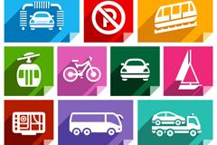 彩色交通工具图标矢量素材