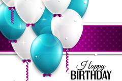 精致彩色气球生日背景矢量素材