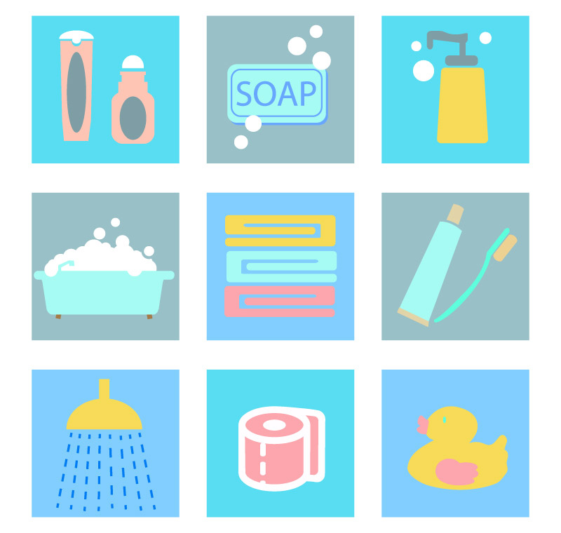 9款洗漱用品图标矢量素材