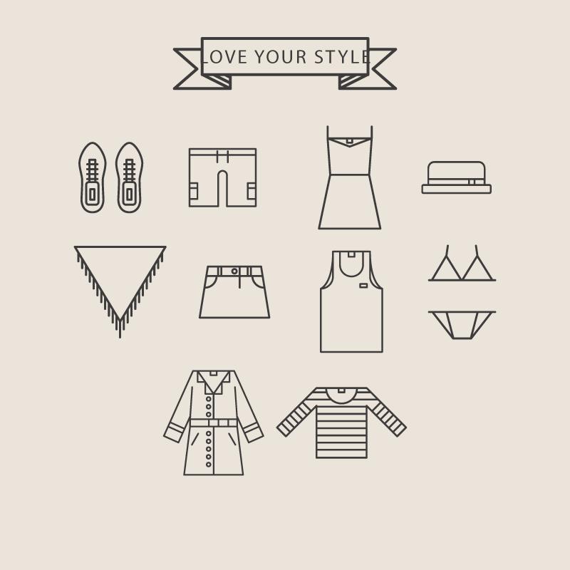 10款线绘服饰图标矢量素材