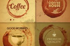 4款创意咖啡渍背景矢量素材
