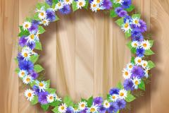 精美花环木板背景矢量素材