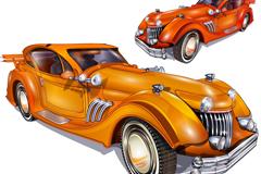 橘色复古轿车设计矢量素材