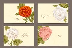 6款复古花卉卡片矢量素材