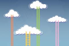 卡通云朵与天梯背景矢量素材