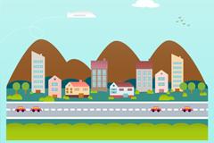 卡通公路城镇背景矢量素材图片