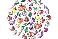 彩绘蔬菜圆形背景矢量素材
