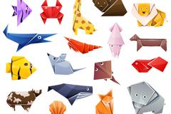 18款彩色折纸动物设计矢量素材