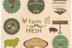8款复古农产品标签矢量素材