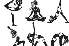 9款瑜伽女孩剪影矢量素材