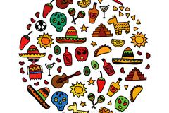彩绘墨西哥元素背景矢量素材