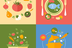 4款彩色美食背景矢量素材
