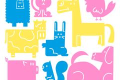 9款彩色动物设计矢量素材