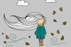 卡通风中女孩插画矢量素材