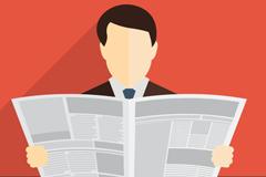读报纸的男子背景矢量素材
