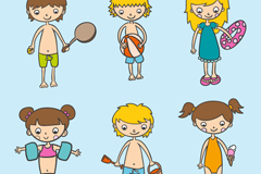 6款沙滩孩童设计矢量素材