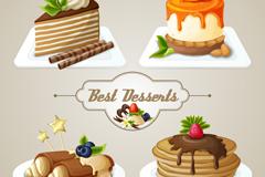 4款美味蛋糕设计矢量素材