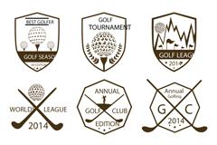 9款盾形高尔夫运动标签矢量素材
