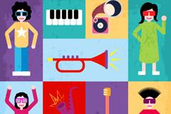 创意潮流音乐元素背景矢量素材