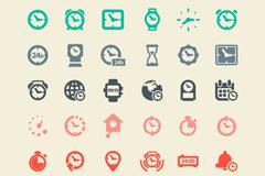 30款简洁彩色时钟图标矢量素材
