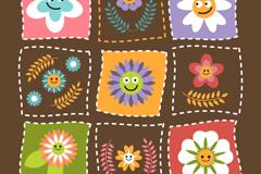 方形花卉图案设计矢量素材