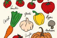 7款彩绘蔬菜设计矢量素材