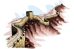 彩绘中国万里长城矢量素材