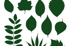 10款绿色树叶剪影矢量素材