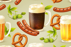 香肠与啤酒无缝背景矢量素材