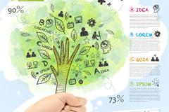 手绘树木商务信息图矢量素材