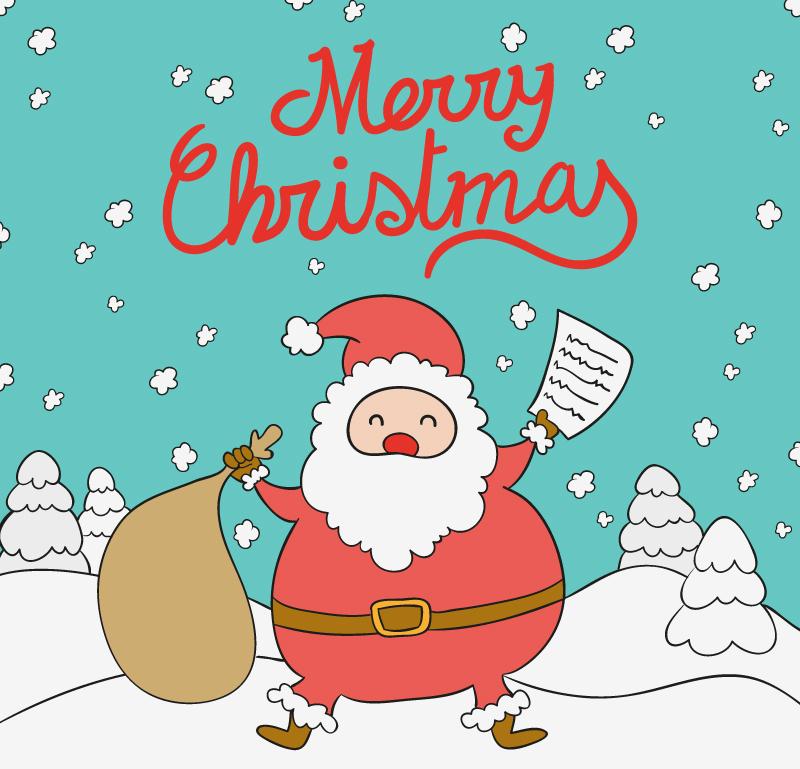 卡通雪地圣诞老人背景矢量素材图片