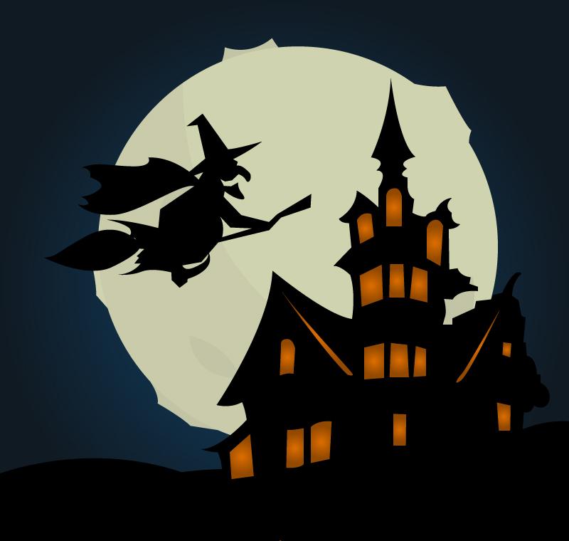 卡通古堡女巫背景矢量素材