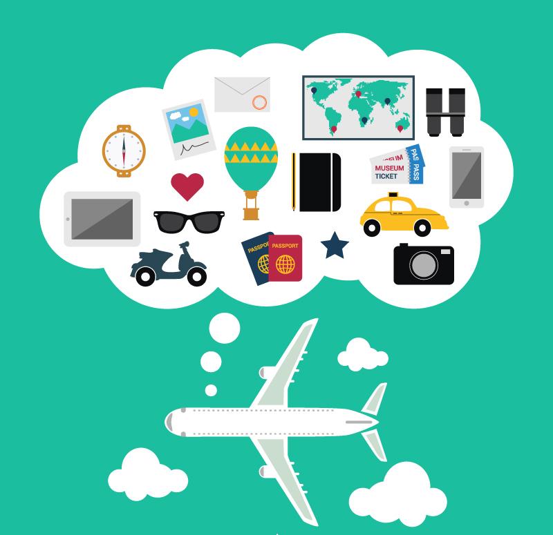创意飞机旅行背景矢量素材