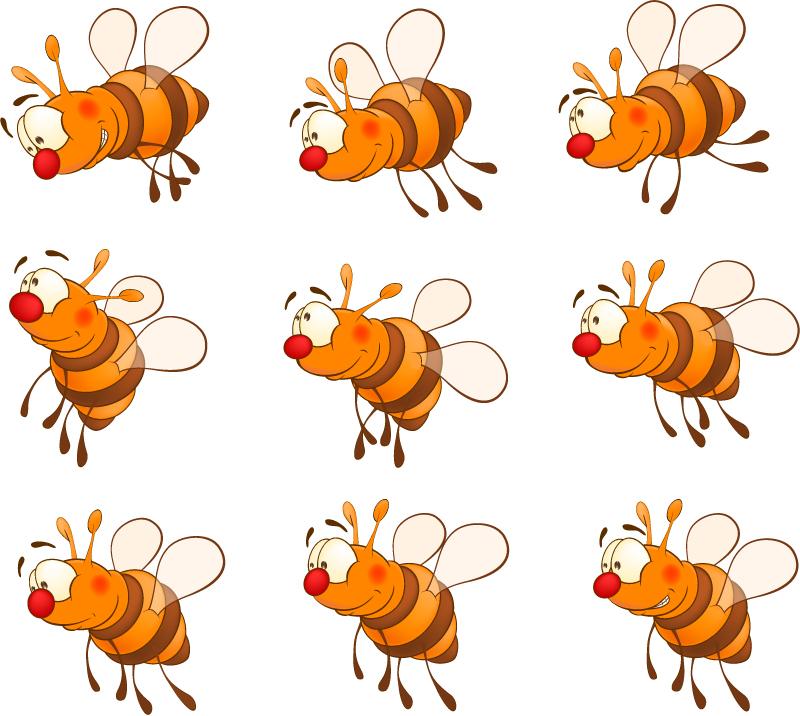 9款卡通蜜蜂设计矢量素材图片