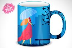 撑伞女孩水杯封面设计矢量素材