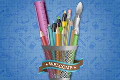 创意笔筒背景矢量素材