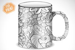 时尚花纹杯子封面设计矢量素材